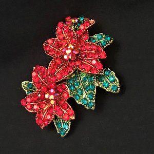 Red Beaded Glitter Flower Poinsettia Brooch